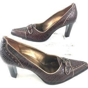 Franco Sarto Brown Leather Buckle Heels Pumps 9.5